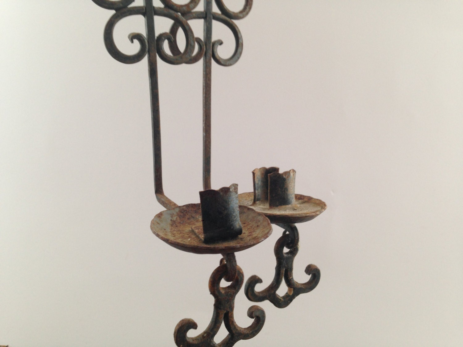 Vintage wall sconces Set of 2 Black iron Wall Candle Holders