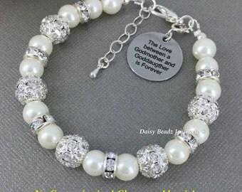 Godmother and Goddaughter Bracelet, Godmother Gift, Godmother Bracelet, Goddaughter Bracelet, Pearl Bracelet, Baptism Gift, Religious Gift