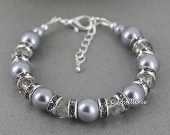Grey Pearl and Crystal Bracelet, Gray Pearl Bracelet, Bridesmaids Gift, Grey Bracelet, Pearl, Bridesmaid Gifts, Bridesmaids Bracelet