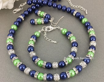 Navy and Lime Necklace, Jewelry, Bridesmaids Gift, Pearl Necklace, Bridal Party Jewelry, Pearl Necklace, Navy Necklace, Lime Green
