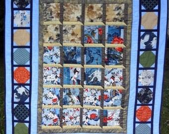 Japanese Quilt Asian Art Quilted Throw Japanese Garden Art Geisha Girl Blue Quilt Japanese Wall Art Oriental Art