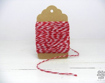Red and white Bakers Twine, 10 meters, 4-ply