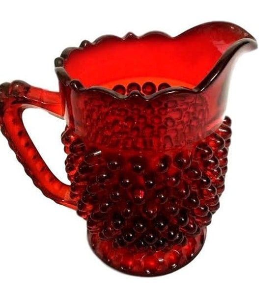 Vintage Fenton Glass Ruby Red Hobnail Creamer 4 1/2 Inches