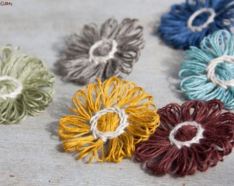 Flower brooch | linen pin | vegan fiber