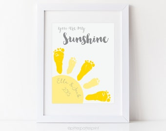 Sibling, Twin You Are My Sunshine Wall Art Print, Baby Footprint Sun Nursery Decor, Personalized with Your Child's Feet UNFRAMED