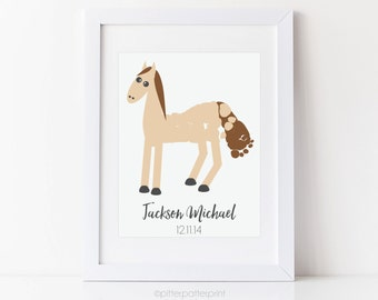 Horse Nursery Art, Baby Footprint, Western Room Decor, Personalized Southwest Print, Your Child's Foot Prints, 5x7 inches unframed
