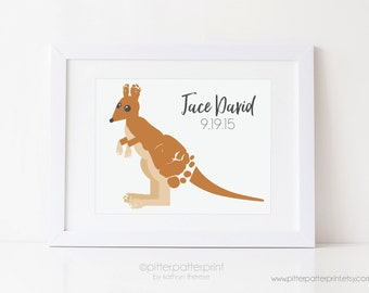 Kangaroo Nursery Art, Baby Footprint Animal Wall Decor, Australian Outback Children's Print, Personalized with Your Child's Feet, UNFRAMED
