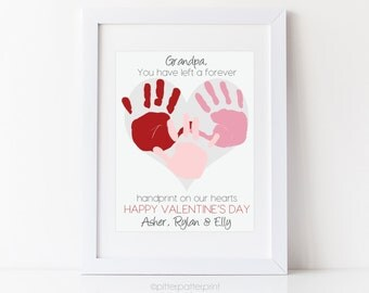 Valentine's Day Gift for Grandfather Grandpa, Personalized Handprint Heart From Grandchildren, Your Childs Hands 8x10 or 11x14 UNFRAMED