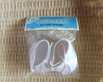 The Original Doll Baby Hi Top Shoes No.7375 3 3/8 in. long by Fibre-Craft Cabbage Patch Style Baby Shoes