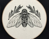 "Cicada & Rosemary  Screen Print on Natural Calico Framed in 12"" Embroidery Hoop"