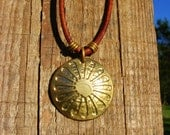 Gypsy Necklace. Etched Coin Pendant. Romani Flag Necklace. Wagon Wheel Necklace. Gipsy Necklace. Gypsy Charm