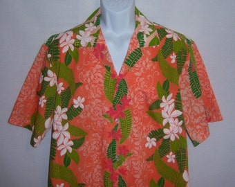 Vintage Orange Green White Hand Screened Tropical Flower Floral Print Hawaiian Shirt Large L Made In Hawaii