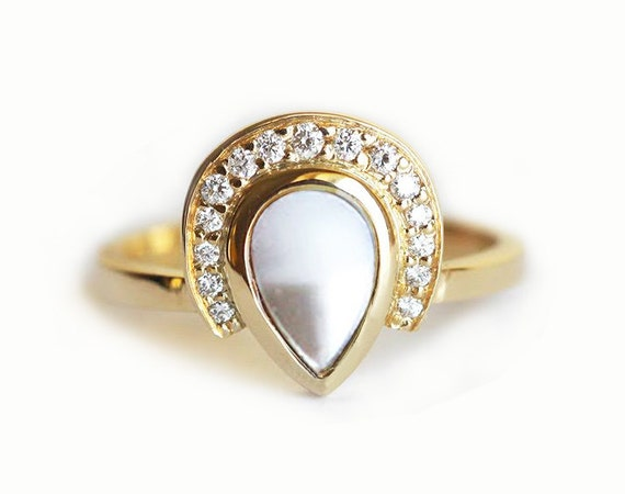 Pearl Diamond Ring Pearl Engagement Ring Pearl Crown Ring