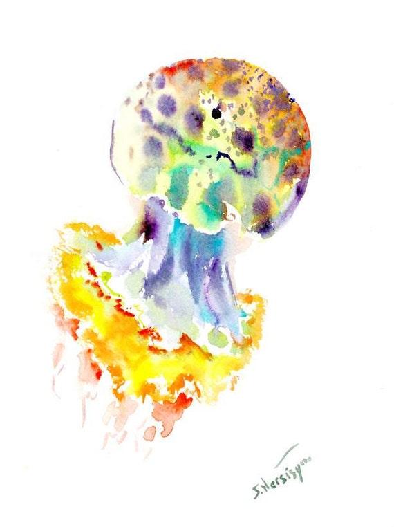 Colorful Jellyfish painting 12 x 9 in original watercolor art