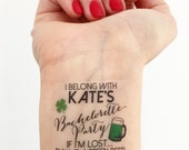 15 Custom Bachelorette Party Temporary Tattoos - St. Patty's Day
