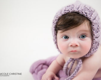 Lavender Pixie Gnome Bonnet Newborn Photo Prop / Size 0-12m / Knit Baby Photography Session Girl Knitted Baby Hat