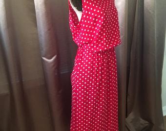 Vintage 1980s Red White Polka Dot Long Midi Maxi Full Skirt Pocket Day Pretty Woman Sundress Dress