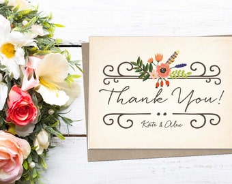 Woodland Floral Thank You Folded Note; wedding, shower, baby, graduation