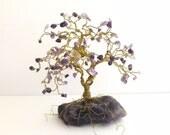 Amethyst Crystal Bonsai Gem Tree of Life Sculpture on Large Polished Amethyst Rock Base / Healing Home Decor, Yoga Gifts