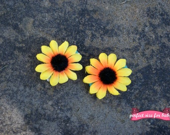 Made to order mini sunflower hair clips girls baby toddler hair clips hair clippies sunflower clips barrettes pigtail piggy tail