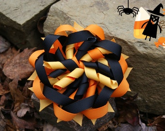 ONLY 1 LEFT boutique kids girls child toddler adult korker hair bow hair clip halloween hair bow orange black yellow costume accessory