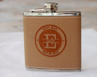 Groomsmen Gifts Wedding, Personalized Flask, Wedding Party Gift, Best Man Gift, Leather Flask, Custom Flask, Monogram Flask, Groomsman Gift
