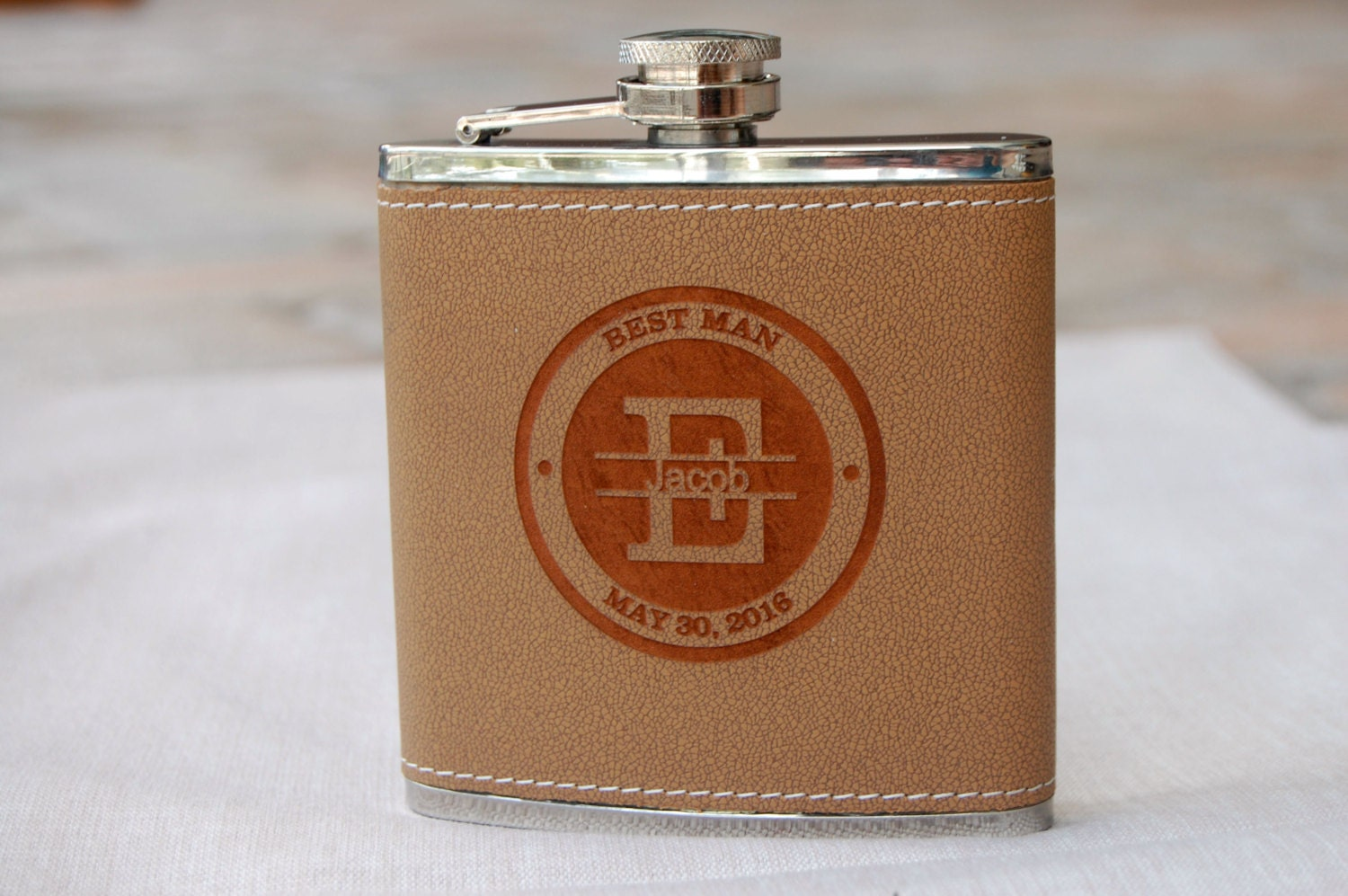 Personalized Wedding Gifts For Groomsmen: Set Of 1 Groomsmen Gift Personalized Flask Brown Leather