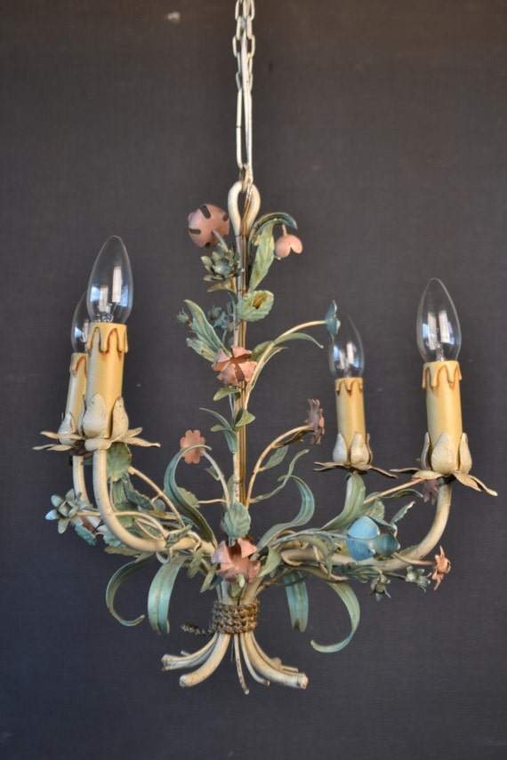 Beautiful tole flower chandelier with various metal flowers