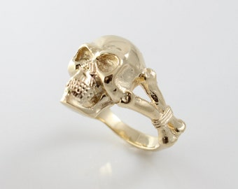 Handmade Solid 14K Gold Skull with Bound Bones Ring