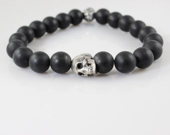 Matte Black Onyx Beaded Stretch Bracelet with Sterling Silver Skull Bead