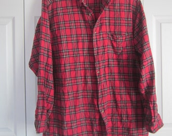 Red Flannel Shirt, Vintage Red Plaid Shirt, Hipster Clothing, Mens XL, Cotton Flannel, Andhurst, Button Down Collar