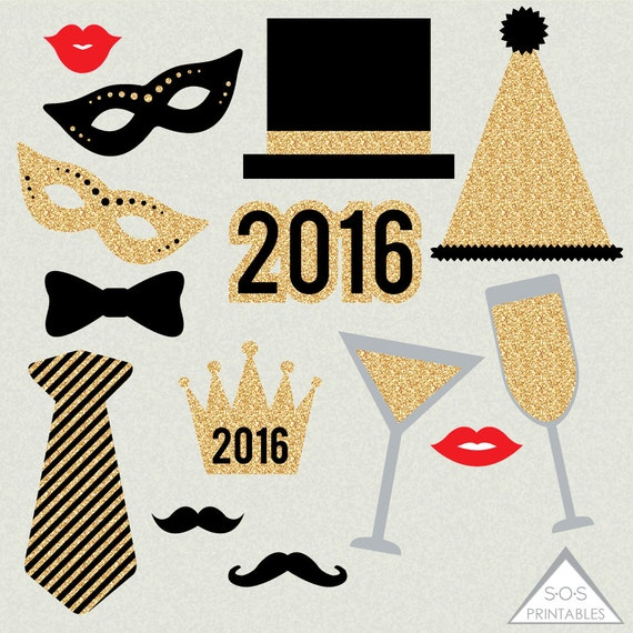 New Years 2016 Photobooth Props by SOS Printables on Etsy