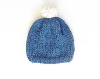 SALE Knit Kids Hat with Pom-Pom / THE Little KELINCI / Blueberry and Snow