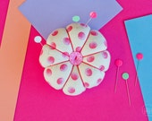 Flower Pin Cushion - Pink Dots