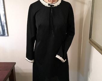 Vintage 60s Mod Black and White Lace Trim Dress