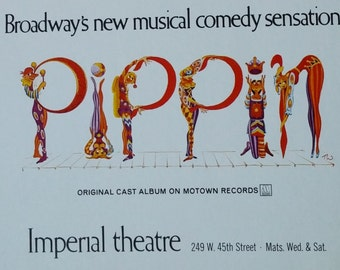 1970's Pippin Window Card Poster Celebrating the Musical's 5 Tony Awards Illustrated with Cast including Ben Vereen Printed by Artcraft