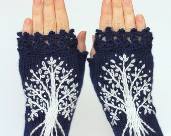 Hand Knitted Fingerless Gloves, Dark Blue, White Trees, Gloves & Mittens, Made to order In Your Color