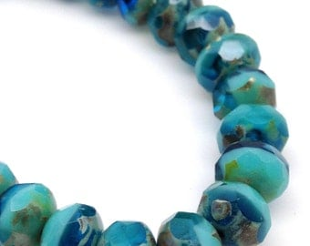 New! 12 Creamy Aqua Blue Picasso Czech Rondelle Glass Beads Rondel 9x6mm