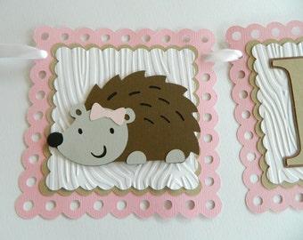 Hedgehog Name Banner Personalized Hedgehog Banner Hedgehog Birthday Party Hedgehog Decorations Hedgehog First Birthday
