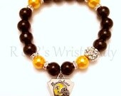 New Orleans Saints Beaded Bracelet,Football Bracelets, Team Spirit, Saints, Stretch Bracelet, Womens, Handmade Custom Jewelry