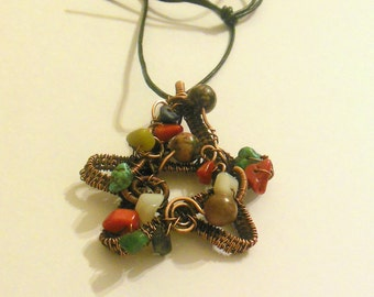 Copper wire wrapped pentagram pendant necklace with different, colourful stone chip beads. Wicca, Pagan, Neopagan, Spiritual.