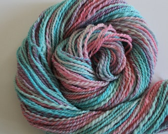 Reveal - Handspun Blue and Pink Falkland wool - 2.56oz / 102yards Worsted