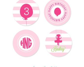 Cupcake Toppers - Playground Birthday Party - Girl Birthday Party - Printable Cupcake Toppers Party Circles