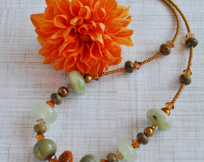 Autumn colors Statement necklace with New Jade stone, Cherry creek jasper, and crystals, Fall necklace