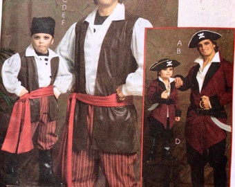 McCall's M5446,  Pirate Costume Pattern, Men's Costume Pattern, Adult Costume Pattern, Size Sm - XL, Halloween, Cosplay, Uncut