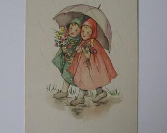 Vintage Post Card - Two Children Walk in the Rain - European - Unused - 1920
