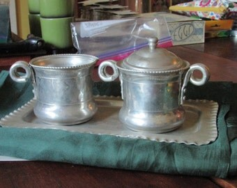 Cromwell Handwrought Aluminum Sugar & Creamer With Tray