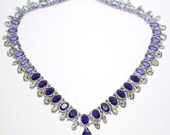 Spectacular Amethyst Swarovski Crystal Collar Necklace