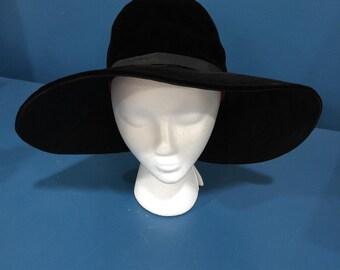 1960s Black Velvet Mr. John Classic Wide Brimmed Slouch Bonnet