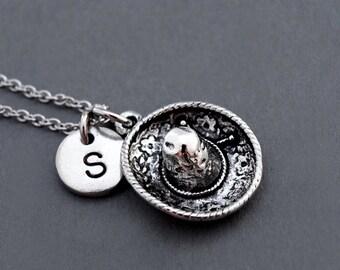 Sombrero Hat necklace, Mexican Sombrero necklace, Mexican hat necklace, Spanish Sombrero, silver Sombrero, initial necklace, monogram